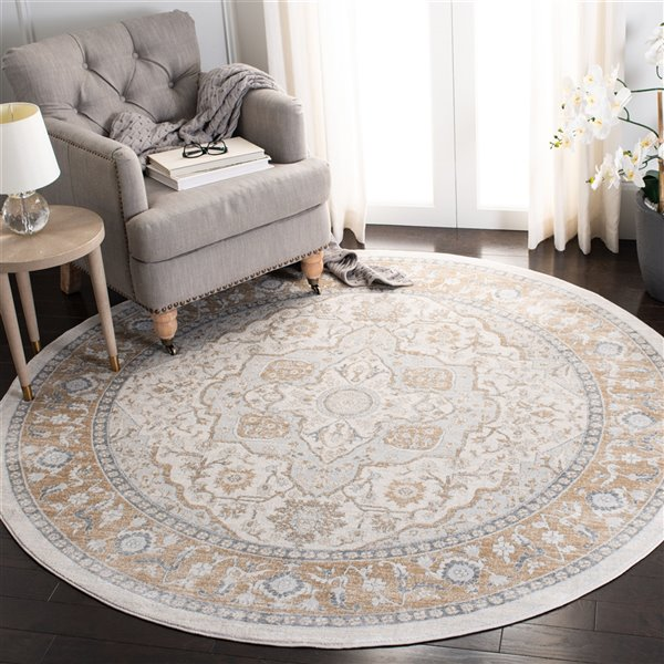 Safavieh Isabella Area Rug - 6-ft 7-in x 6-ft 7-in - Round - Cream/Beige