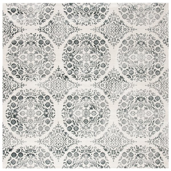 Safavieh Isabella Area Rug - 6-ft 7-in x 6-ft 7-in - Square - Charcoal/Ivory