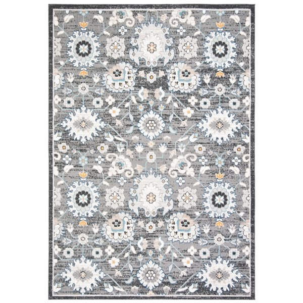 Tapis rectangulaire Liberty de Safavieh, 4 pi x 6 pi, gris foncé/ivoire