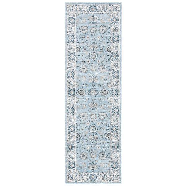 Tapis rectangulaire Isabella de Safavieh, 2 pi 2 po x 7 pi, bleu clair/crème