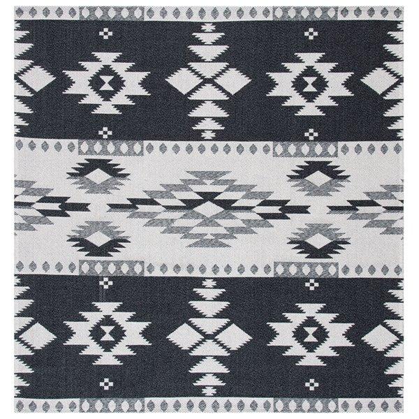 Tapis carré Augustine de Safavieh, 6 pi 4 po x 6 pi 4 po, noir/gris clair