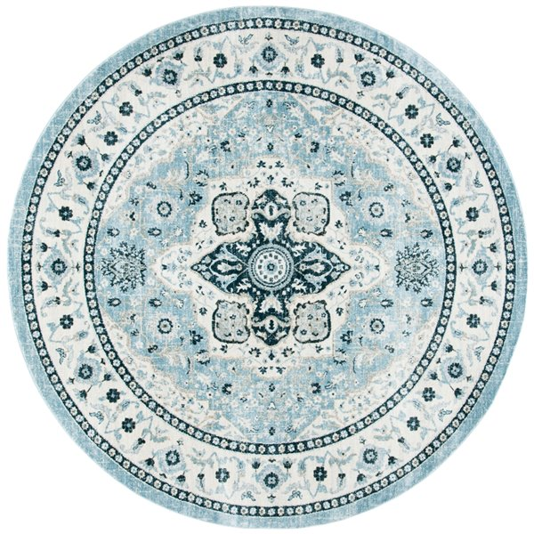 Tapis rond Isabella de Safavieh, 6 pi 7 po x 6 pi 7 po, bleu clair/crème