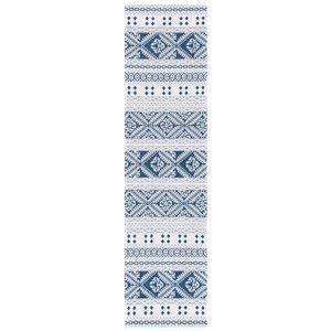 Tapis rectangulaire Augustine de Safavieh, 2 pi x 8 pi, bleu marine/crème