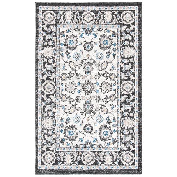 Tapis rectangulaire Liberty de Safavieh, 3 pi x 5 pi, gris foncé/ivoire