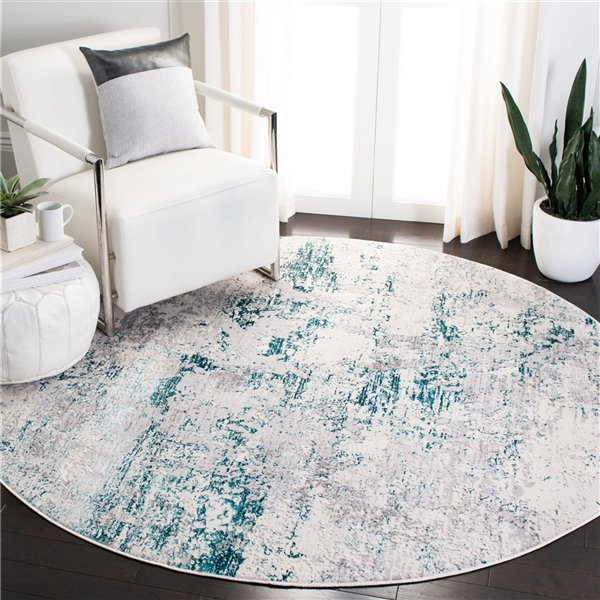 Safavieh Amalfi Area Rug - 6-ft 7-in x 6-ft 7-in - Round - Cream/Turquoise