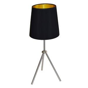 Lampe de table Oversized Drum de Dainolite, 1 lumière, 28,5 po, chrome satiné/noir