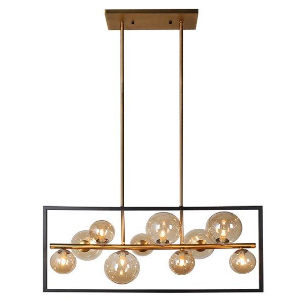 Dainolite Glasglow Pendant Light - 10-Light - 33-in x 14-in - Matte Black/Vintage Bronze