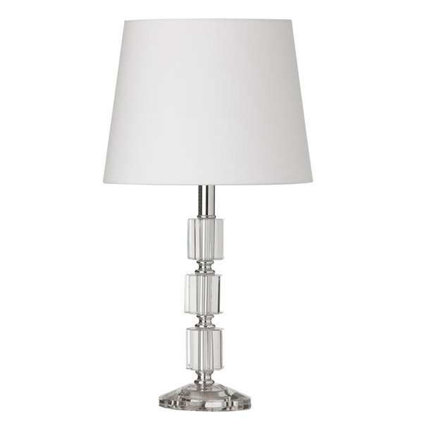 Dainolite Crystal Table Lamp - 1-Light - 16.75-in - Polished Chrome