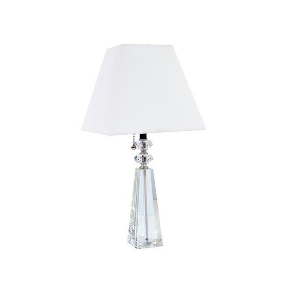 Dainolite Crystal Table Lamp - 1-Light - 19.5-in - White
