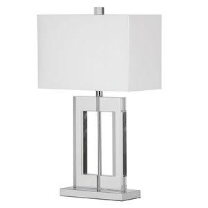 Lampe de table Crystal de Dainolite, 1 lumière, 25,5 po, blanc
