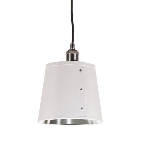 Dainolite Fayette Pendant Light - 1-Light - 8-in x 9.5-in - White/Silver