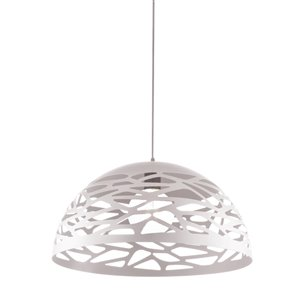 Dainolite Coral Pendant Light - 1-Light - 16-in x 8.75-in - Matte White