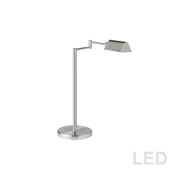 Dainolite Table Lamp - 1-LED Light - 15.25-in - Satin Nickel