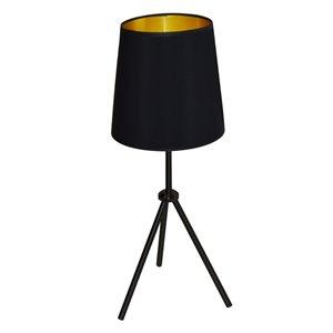 Lampe de table Oversized Drum de Dainolite, 1 lumière, 28,5 po, noir mat/or