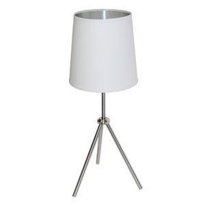 Lampe de table Oversized Drum de Dainolite, 1 lumière, 28,5 po, chrome satiné/blanc