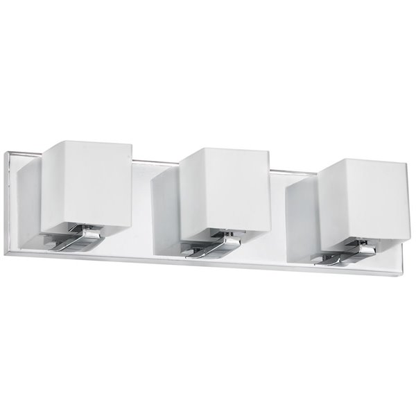 Luminaire pour meuble-lavabo de Dainolite, 3 lumières, 19 po, verre givré et chrome poli
