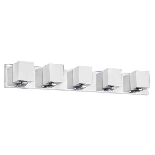 Luminaire pour meuble-lavabo de Dainolite, 5 lumières, 35.5 po, verre givré blanc et chrome poli