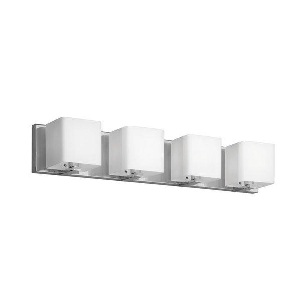 Luminaire pour meuble-lavabo de Dainolite, 4 lumières, 25.5 po, verre givré blanc et chrome poli