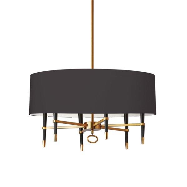 Luminaire suspendu Langford de Dainolite, 6 lumières, 32 po x 17 po, bronze vintage/noir