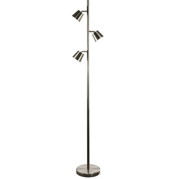 Dainolite Modern Floor Lamp - 3-Light - 61.5-in - Satin Chrome