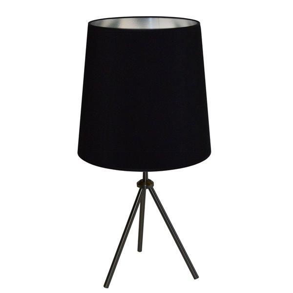 Lampe de table Oversized Drum de Dainolite, 1 lumière, 30 po, noir mat/argent
