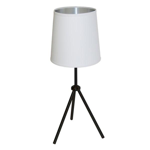 Lampe de table Oversized Drum de Dainolite, 1 lumière, 28,5 po, noir mat