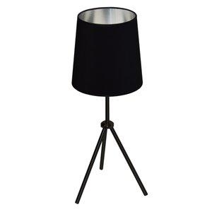 Lampe de table Oversized Drum de Dainolite, 1 lumière, 28,5 po, noir mat/argent