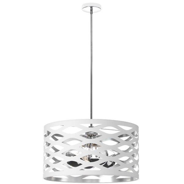 Luminaire suspendu Cutouts de Dainolite, 4 lumières, 22 po x 12 po, blanc/argent