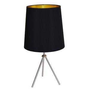 Lampe de table Oversized Drum de Dainolite, 1 lumière, 30 po, chrome satiné/noir