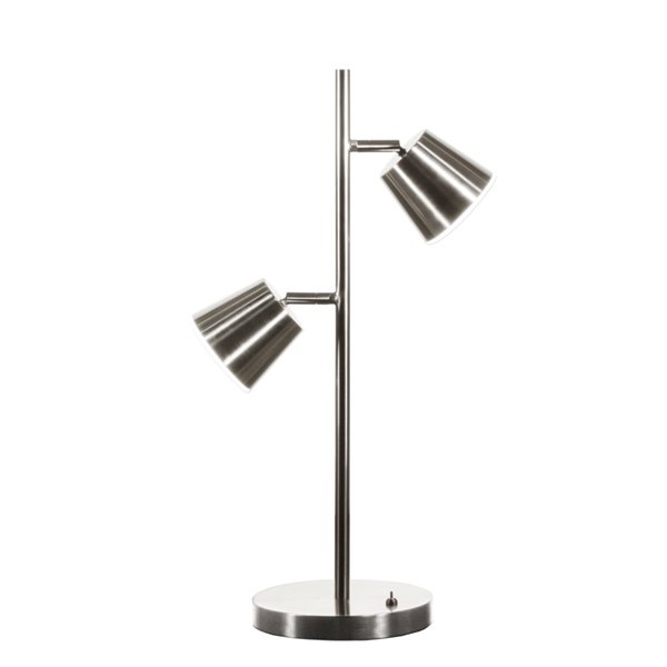 Dainolite Modern Table Lamp - 2-LED Light - 20.5-in - Satin Chrome