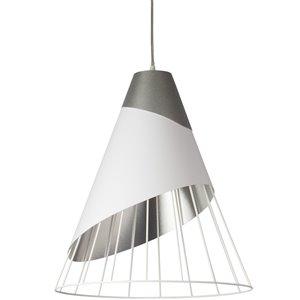 Dainolite Farthingale Pendant Light - 1-Light - 24-in x 28.5-in - White/Silver