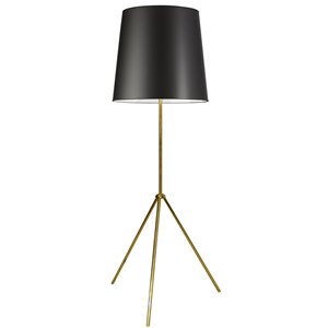 Dainolite Oversized Drum Floor Lamp - 1-Light - Aged Brass Frame - Black and White Shade