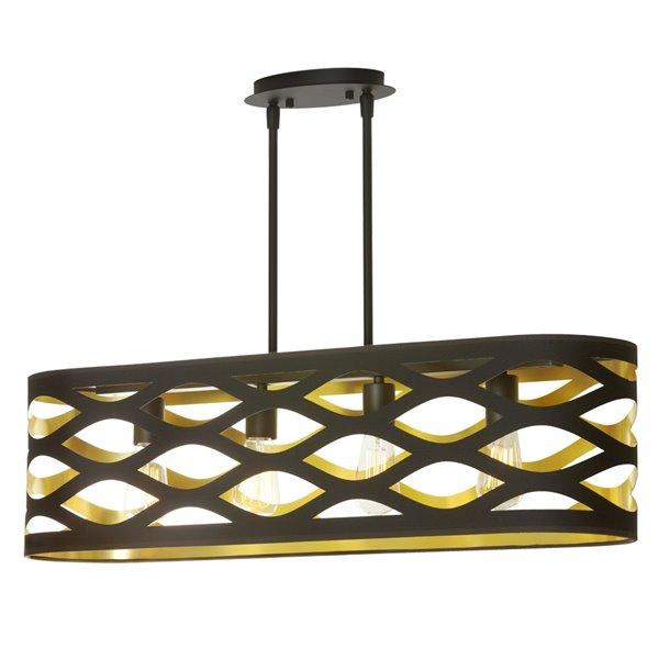 Luminaire suspendu Cutouts de Dainolite, 4 lumières, 33 po x 9 po, noir/or