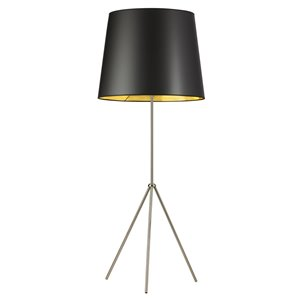 Lampe sur pied Tripod de Dainolite, 1 lumière, 21 po, chrome satiné, abat-jour noir/or