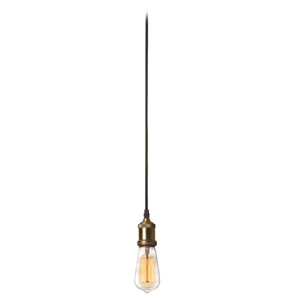 Dainolite Vintage Pendant Light - 1-Light - 2-in x 3-in - Antique Brass