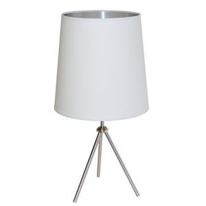 Lampe de table Oversized Drum de Dainolite, 1 lumière, 30 po, chrome satiné/blanc