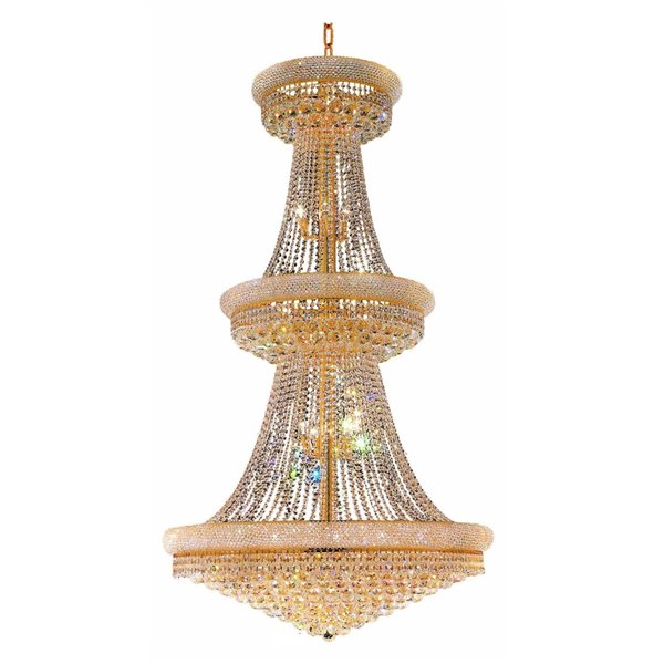 CWI Lighting Empire 32 Light Down Chandelier - Gold finish - 30-in