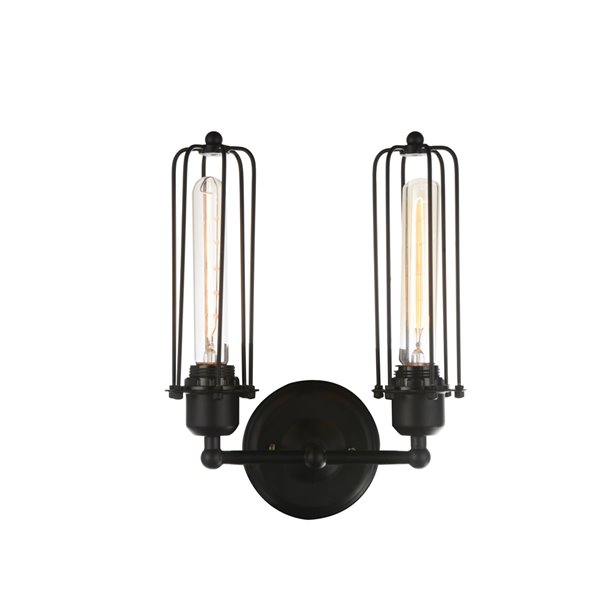 CWI Lighting Benji 2 Light Wall Sconce - Black finish - 10-in x 13-in x 5-in