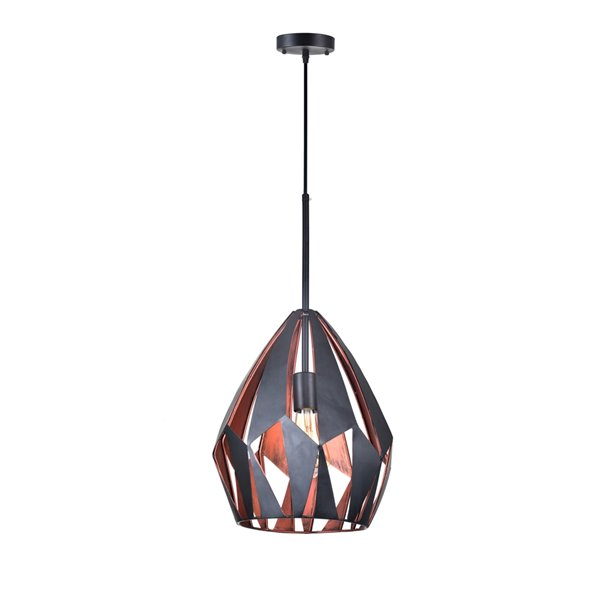 CWI Lighting Oxide 1 Light Down Pendant - Black and Copper Finish - 20-in