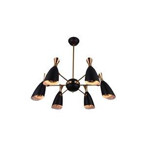 CWI Lighting Rolin 12 Light Down Chandelier - Matte Black and Satin Gold - 43-in
