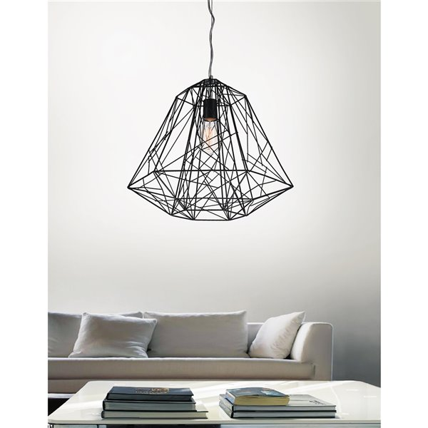 CWI Lighting Bagheera 1 Light Down Pendant - Black finish - 16-in