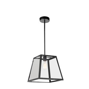 CWI Lighting Alyson 1 Light Down Mini Pendant - Black finish - 12-in
