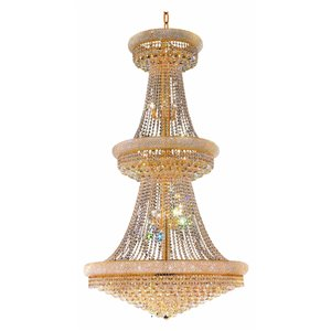 CWI Lighting Empire 38 Light Down Chandelier - Gold finish - 42-in