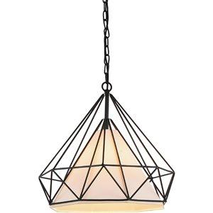 CWI Lighting Diamond 1 Light Down Pendant - Black finish - 15-in