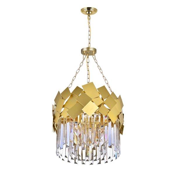 CWI Lighting Panache 4 Light Down Chandelier - Medallion Gold Finish - 16-in