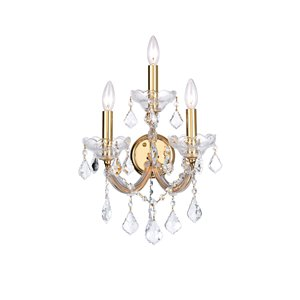 CWI Lighting Maria Theresa 3 Light Wall Sconce - Gold - 12-in x 17-in x 10-in