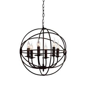 CWI Lighting Arza 6 Light Up Chandelier - Brown finish - 18-in