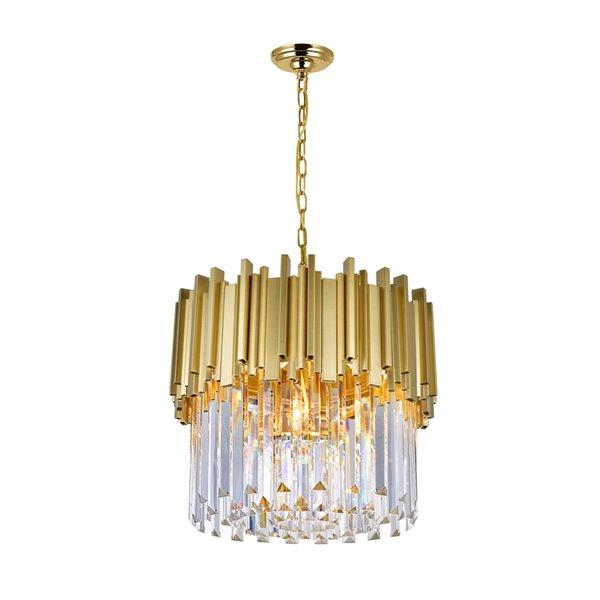 CWI Lighting Deco 4 Light Down Chandelier - Medallion Gold Finish - 16-in