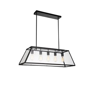 5 Light Down Chandelier with Black finish