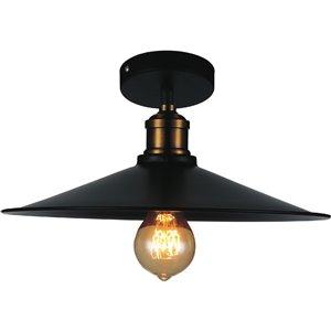 CWI Lighting Brave 1 Light  Flush Mount - Black finish - 13-in x 13-in